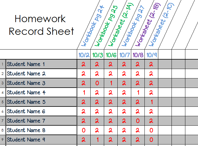 homework record sheet filled in pic