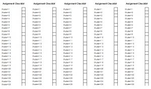 assignment checklists editable