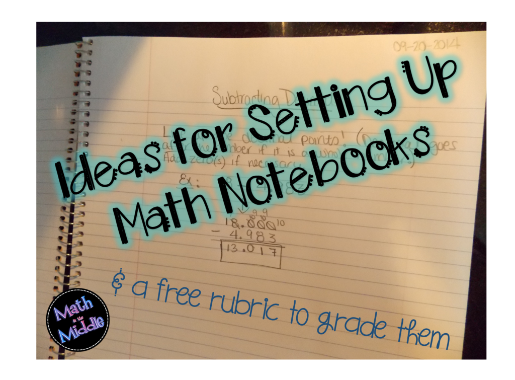 ideas for setting up math notebooks