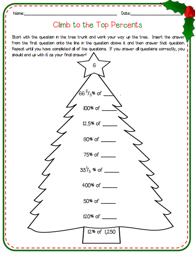 Math Worksheets For Middle School Students : Christmas math worksheets middle school free printable