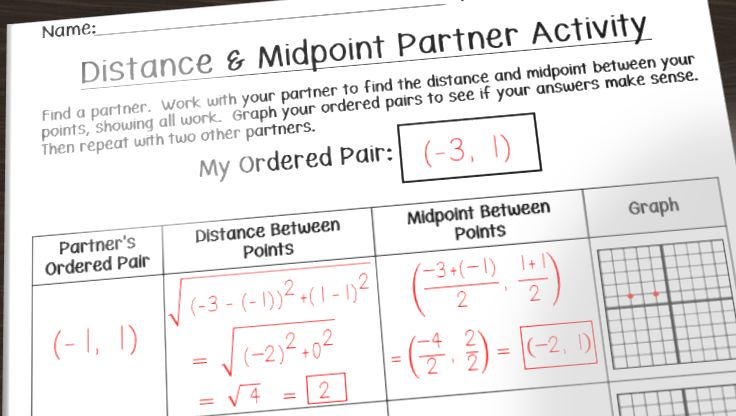 Having Fun with Distance and Midpoint Math in the Middle – Ordered Pairs Worksheet