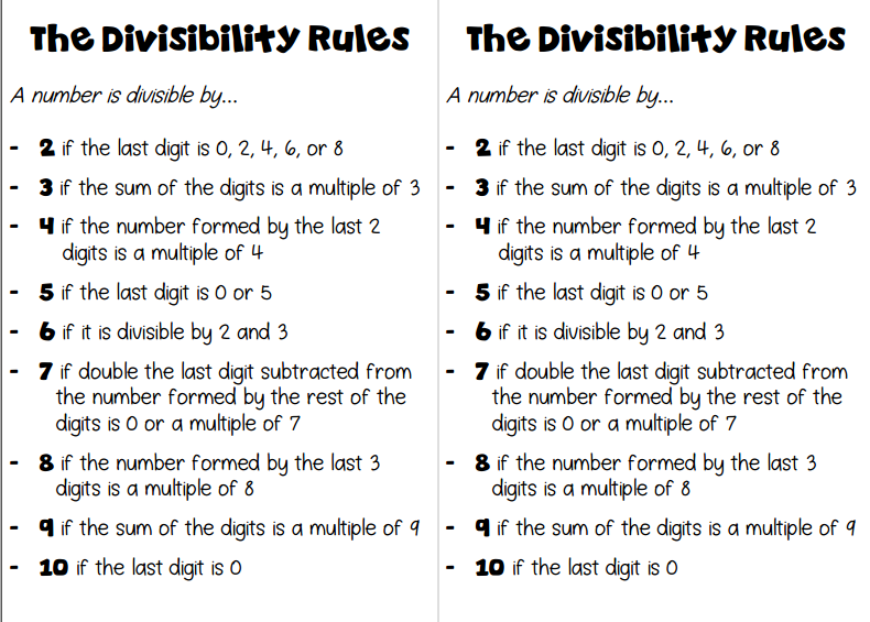 Divisibility Rules Worksheet Printable mrs castro s class – Divisibility Rules Worksheets Grade 6