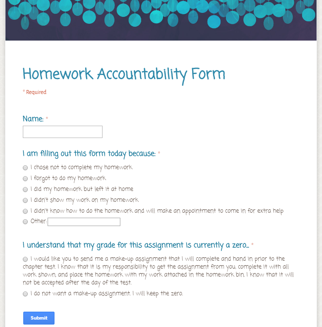 Math-in-the-middle.com| Homework Accountability Form