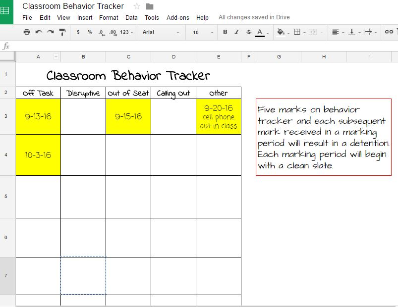 pic of google drive student behavior tracker