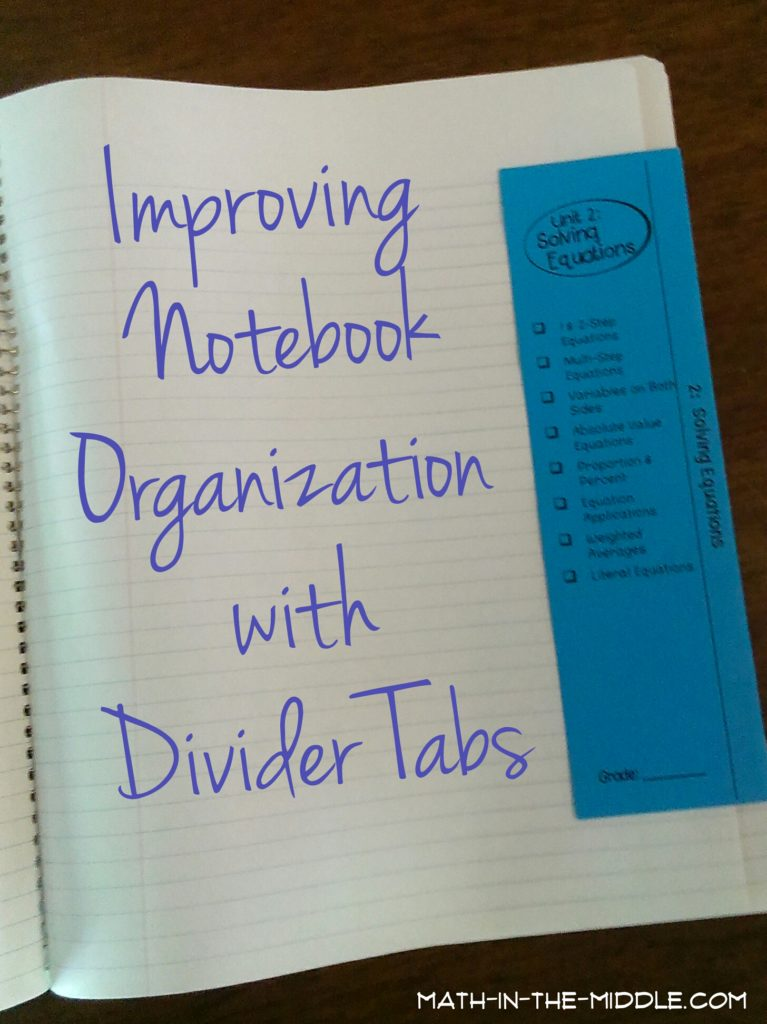 Notebook Divider Tabs: math-in-the-middle.com
