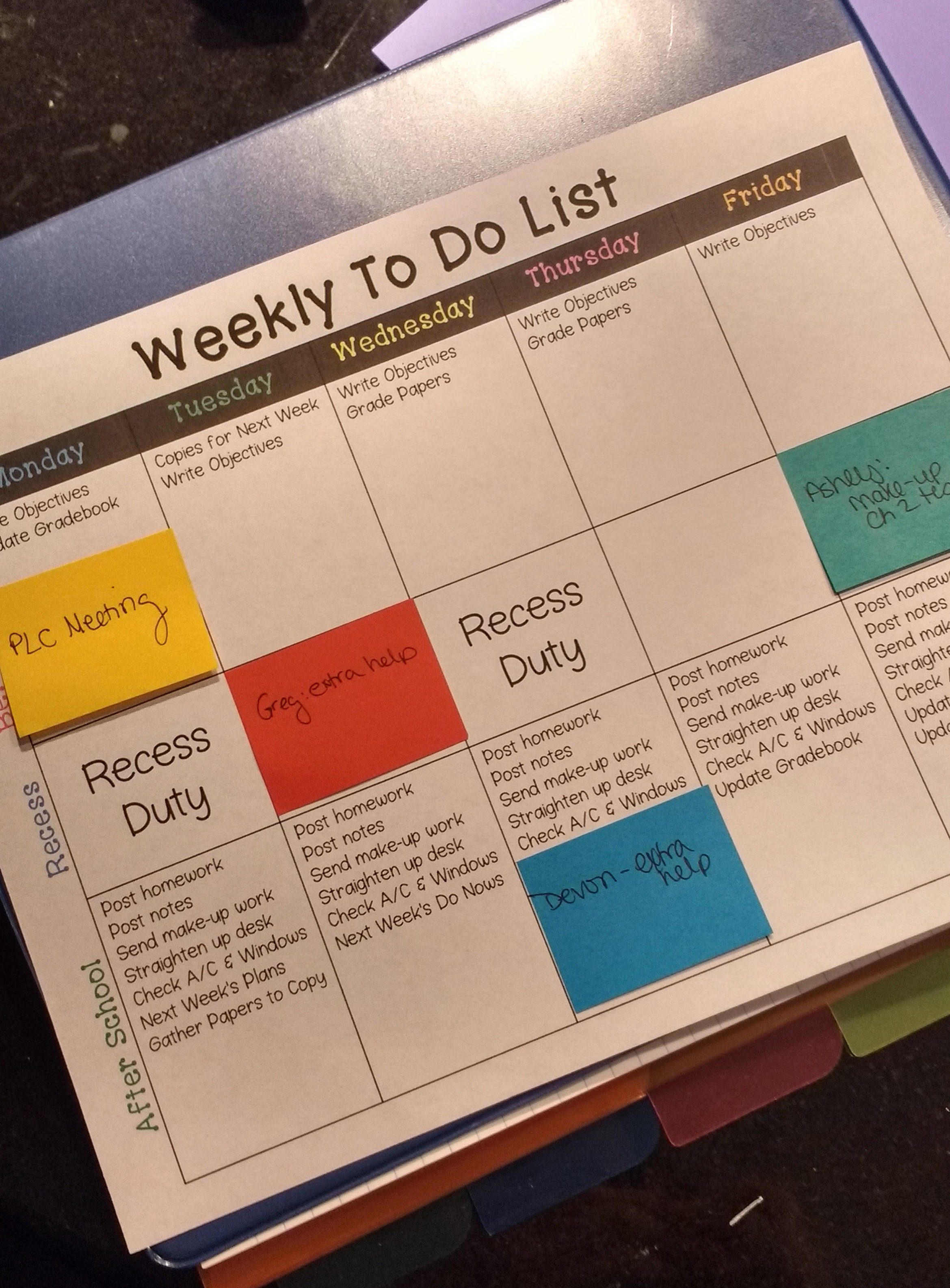 Keeping Myself Organized Each Week