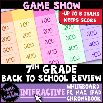 7th Grade Math Back to School Review Game Show Image