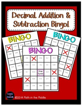 Decimal Addition and Subtraction Math Bingo - Math Review Game Image
