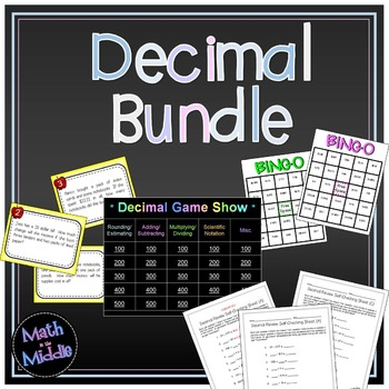Decimal Bundle - includes games, task cards, and practice sheets! Image