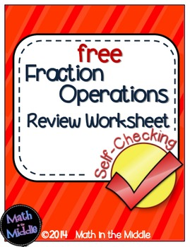 Fraction Operations Self-Checking Worksheet - Free Image