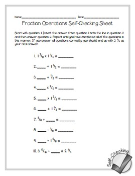 fraction operations self checking worksheet free freebies math in the middle. Black Bedroom Furniture Sets. Home Design Ideas