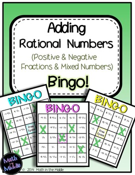 Adding Rational Numbers (Positive & Negative Fractions & Mixed Numbers) Bingo Image
