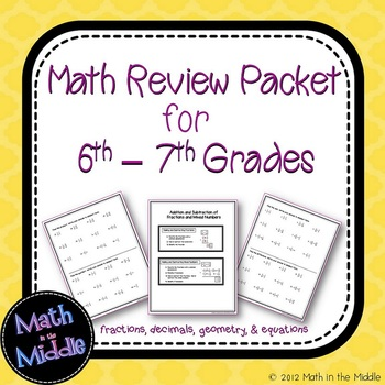 6th Grade Math Review Packet Image