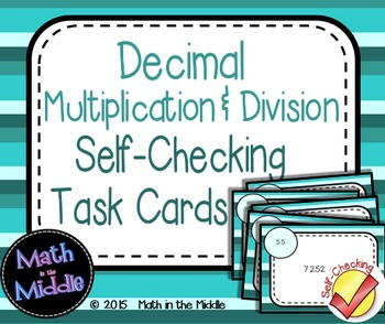 Decimal Multiplication & Division Self-Checking Task Cards Image