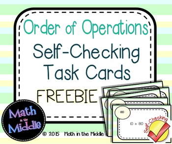Order of Operations Self-Checking Task Cards FREEBIE Image
