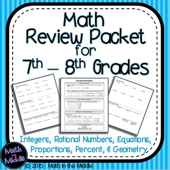 7th Grade Math Review Packet Image