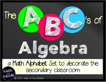 The ABCs of Algebra: Math Alphabet Set for the Secondary Classroom Math Posters Image
