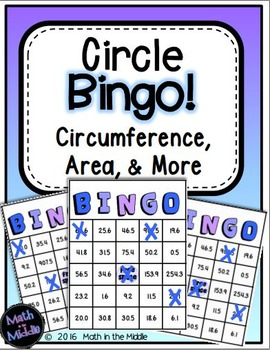 Circles Bingo Math Review Game (Area, Circumference, & More) Image