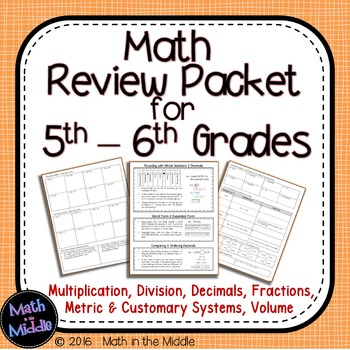 5th Grade Math Review Packet Image