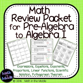 Pre-Algebra Math Review Packet Image