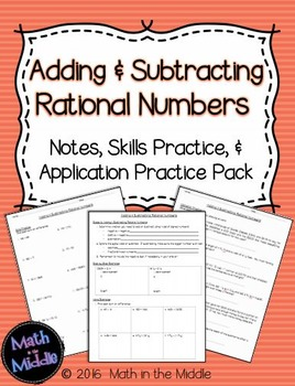 Adding & Subtracting Rational Numbers - Notes, Practice, and Application Pack Image