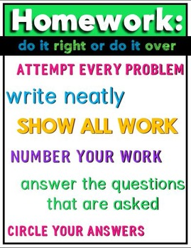 Homework Poster for Middle School or High School Math Classroom FREE Image