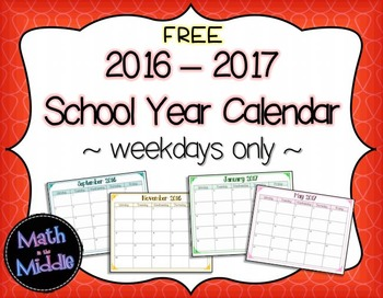 2016-2017 School Year Calendar (Weekdays Only) Image