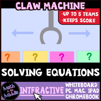 Solving Equations Claw Machine Interactive Math Review Game Image