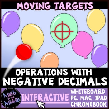 Operations with Negative Decimals Moving Targets Interactive Review Game Image
