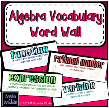 Algebra Vocabulary Word Wall - Math Posters Image