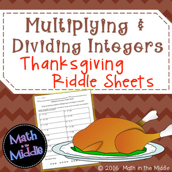 Multiplying & Dividing Integers Thanksgiving Riddle Sheets Image