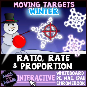 Ratio, Rate, & Proportion Winter Themed Moving Targets Interactive Review Game Image