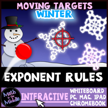 Exponent Rules Winter Themed Moving Targets Interactive Review Game Image