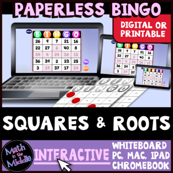 Squares & Square Roots Interactive Bingo Review Game Image