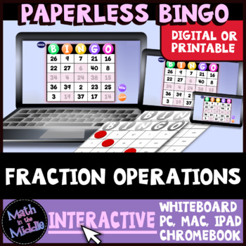 Fraction Operations Interactive Bingo Review Game Image