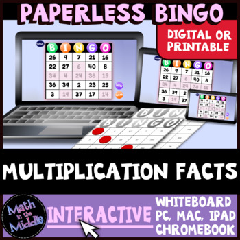 Multiplication Facts Interactive Bingo Review Game Image