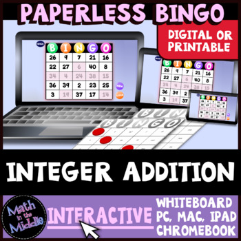 Adding Integers FREE Interactive Bingo Free Review Game Image