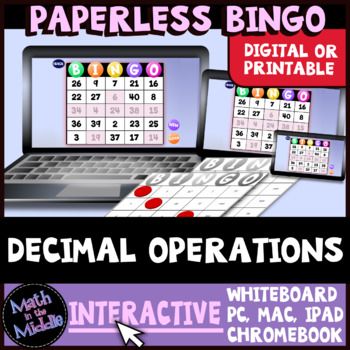 Decimal Operations Interactive Bingo Review Game Image