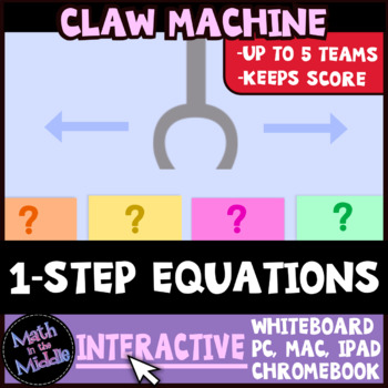 One-Step Equations Claw Machine Interactive Review Game Image