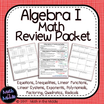 Algebra 1 Math Review Packet Image