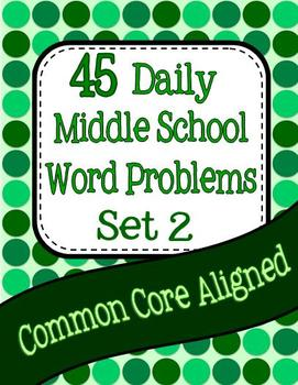 45 Daily Middle School Math Word Problems - Set 2 Image