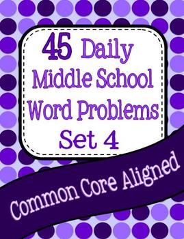 45 Daily Middle School Math Word Problems - Set 4 Image