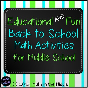 Back to School Math Activities for Middle School Image