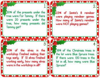 christmas percent math word problem task cards resources math in the middle. Black Bedroom Furniture Sets. Home Design Ideas