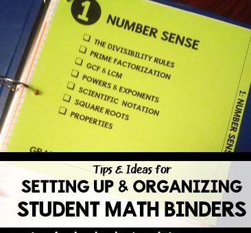 Setting Up Student Math Binders