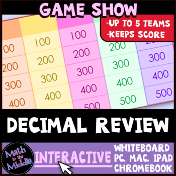 Decimal Review Game Show Interactive Math Review Game Image