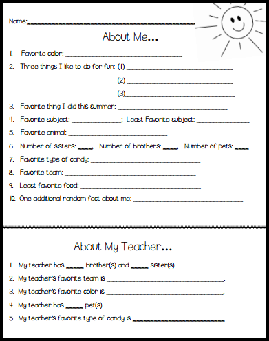surveys to get to know someone back to school icebreaker idea for middle school math in 5439